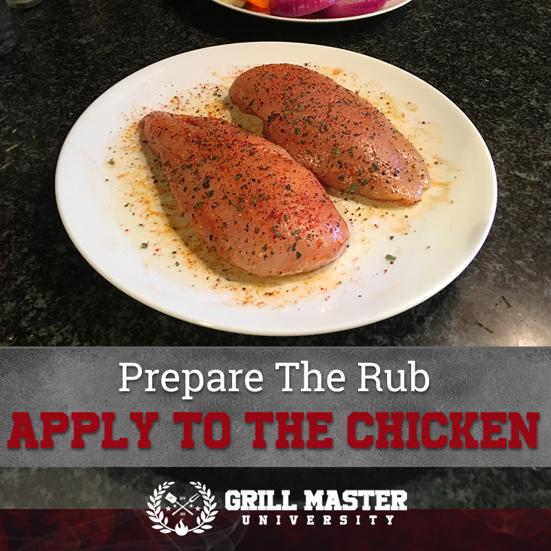 Season the chicken with the rub