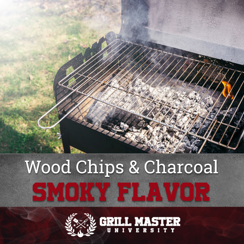 Wood chips and charcoal